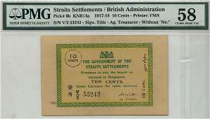 STRAITS SETTLEMENTS British Administration 1918