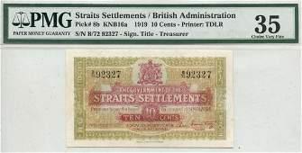 STRAITS SETTLEMENTS British Administration 1919