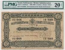 STRAITS SETTLEMENTS British Administration $5 1898 A/4