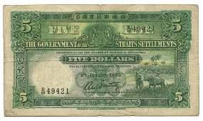 STRAITS SETTLEMENTS British Administration $5 1925 D/69