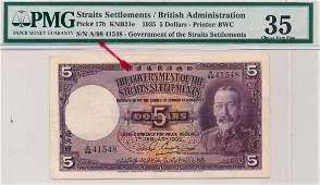 STRAITS SETTLEMENTS British Administration 1935 $5 A/98