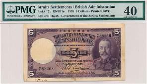 STRAITS SETTLEMENTS British Administration 1935 $5 B/81