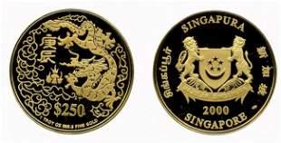 Gold: $250 2000 Dragon 1oz (KM#176) In box and certi
