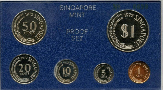 9: Proof Set: 1972 comprising 1-,5-,10-,20-,50-Cent & $