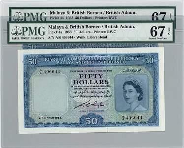798: Elizabeth II: $50 1953 pair A/6 406643-44 (KNB4a)