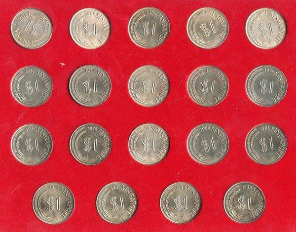 1: Complete $1 Merlion Set 1967-1985. In folder