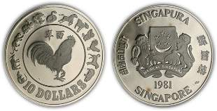 """Silver & Cu-Ni $10 1981 """"Year of the Rooster"""""""