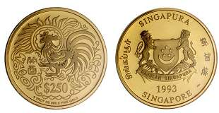 """Gold: $250 1993 """"Year of the Rooster"""" 1 oz."""