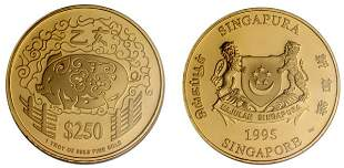 """Gold: $250 1995 """"Year of the Pig"""" 1 oz."""