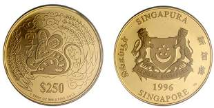 """Gold: $250 1996 """"Year of the Rat"""" 1 oz."""