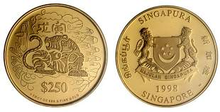 """Gold: $250 1998 """"Year of the Tiger"""" 1 oz."""