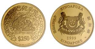 """Gold: $250 1999 """"Year of the Rabbit"""" 1 oz."""