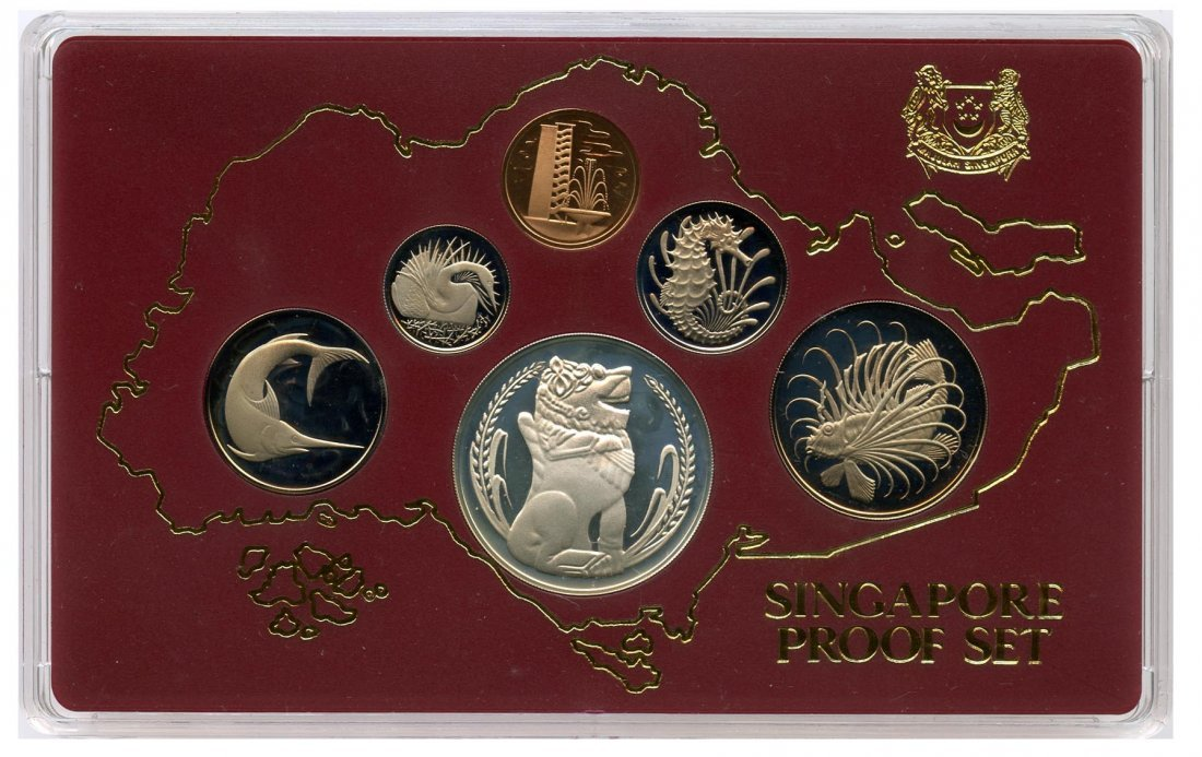 10: SINGAPORE - MODERN ISSUES Silver Proof Set 1¢-$1 (
