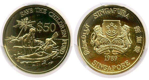 22: SINGAPORE - MODERN ISSUES Gold $50 1989 Save the Ch