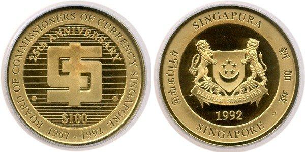 23: SINGAPORE - MODERN ISSUES Gold $100 1992 25th Anniv