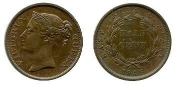 399: STRAITS SETTLEMENTS Victoria Copper Cent 1845 (KN2