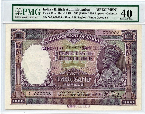 967: INDIA KGV 1000-Rupees SPECIMEN Calcutta Taylor sig
