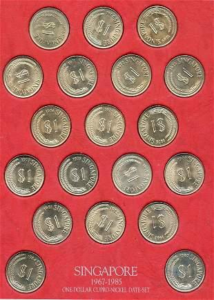 SINGAPORE. Cu-Ni Complete Merlion $1 date set coins