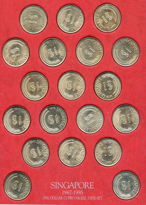 3: SINGAPORE. Cu-Ni Complete Merlion $1 date set coins