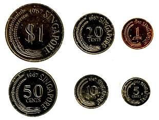 SINGAPORE. Proof Set: 1, 5, 10, 20, 50-Cent & $1 196