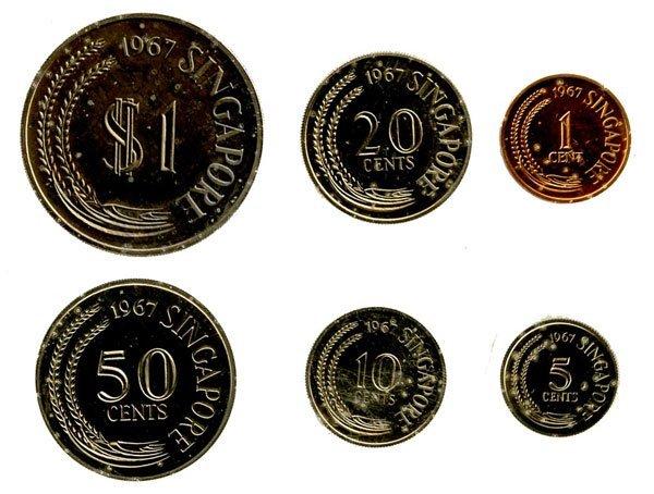 4: SINGAPORE. Proof Set: 1, 5, 10, 20, 50-Cent & $1 196