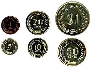 SINGAPORE. Proof Set: 1-Cent to $1 1968