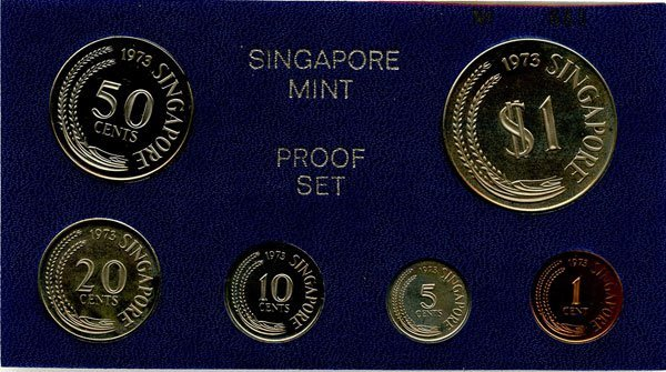 13: SINGAPORE. Proof Set: 1973 comprising 1-, 5-, 10-,