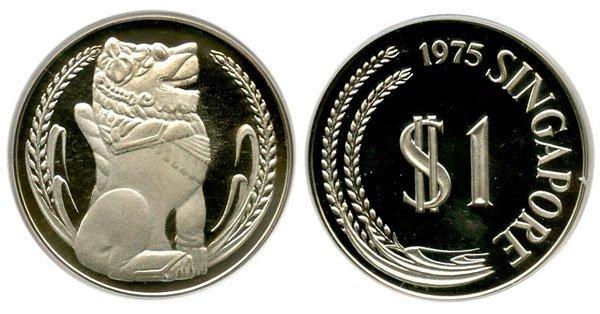 16: SINGAPORE. Silver: $1 complete set 1975-80, 1975 ke