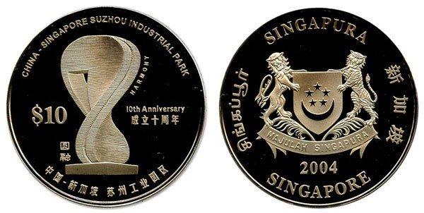 18: SINGAPORE. Cupro-Nickel: $10 10th Anniversary China