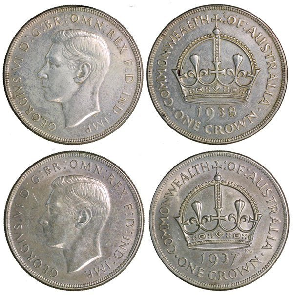 45: AUSTRALIA. KGVI Silver Dollar 1937 & 1938 (KM 34).