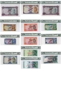 727: MALAYSIA. 1st-4th Series: RM1(2), 5(3), 10(2), 50(