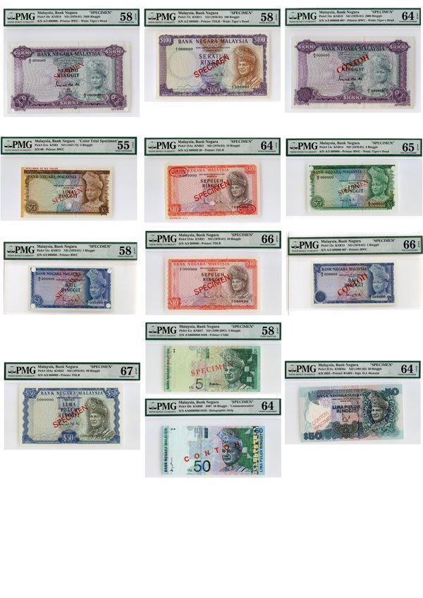727: MALAYSIA. 1st-4th Series: RM1(2), 5(3), 10(2), 50(