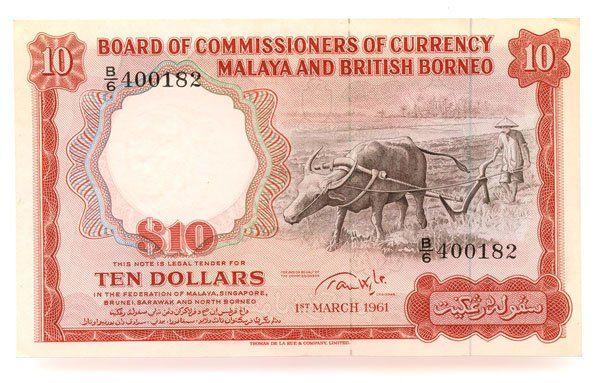 1153: MALAYA & BB. Buffalo $10 1961 B/6 400182 (KNB9c)