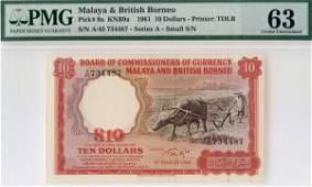 """1154: MALAYA & BB. Buffalo: $10 1961 A/45 734487 """"Small"""