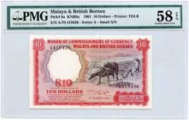 1155: MALAYA & BB. Buffalo: $10 1961 A/70 419436 (KNB9a