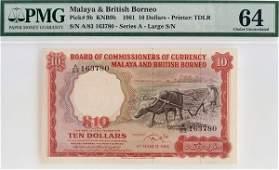 """1156: MALAYA & BB. Buffalo: $10 1961 A/83 163780 """"Large"""