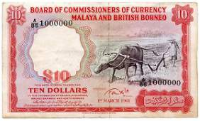 """1158: MALAYA & BB. Buffalo: $10 1961 Big Letter """"A"""" and"""