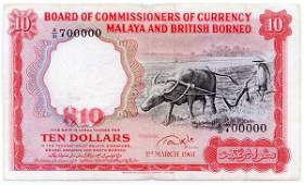 "1159: MALAYA & BB. Buffalo: $10 1961 ""Golden No."" A/31"