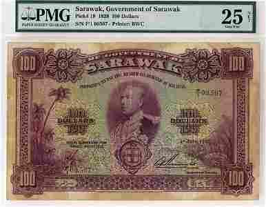 1222: SARAWAK. C.V. Brooke: $100 1-7-1929. F/1 00,507