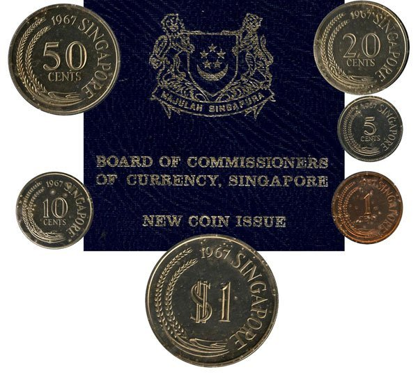 SINGAPORE. Proof Set: 1-cent to $1 1967 with Box