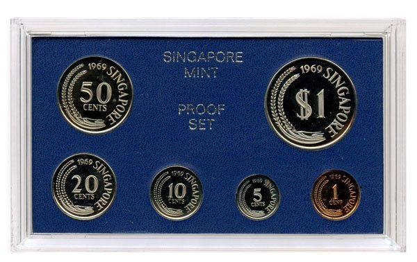 SINGAPORE. Proof Set: 1, 5, 10, 20, 50-Cents & $1 1967,