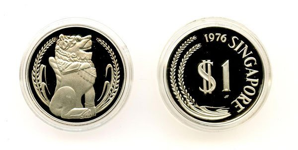 SINGAPORE. Silver $1 1976 and 1980 (KM) Proof with box