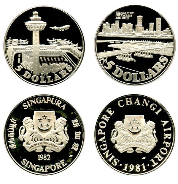 SINGAPORE. Silver $5 1981 and 1982 (KM) Proof with box