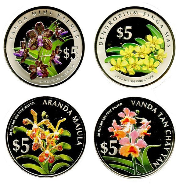 SINGAPORE. Silver Proof $5 pair Orchid series 2006 and