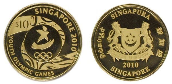 "SINGAPORE. Gold: $10 2010 Official ""Singapore 2010 Yout"