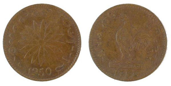 SINGAPORE. Copper Ayam Duit 1760 (SS ) UNC