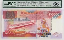 SINGAPORE. Ship Series: $10,000 1987 Solid no. AB222222