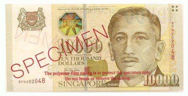SINGAPORE. Portrait Series: SPECIMEN $10,000 s/n. 8PN00