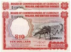 MALAYA & BB. Buffalo: $10 1961 consecutive pair Last pr