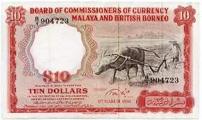 MALAYA & BB. Buffalo: $10 1961 s/n. B/1 904723 (KNB9c)